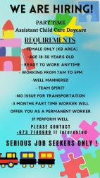 Assistant Child care Daycare