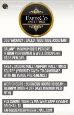 WANTED EXPO/ KIOSK WORKER (FEMALE ONLY)