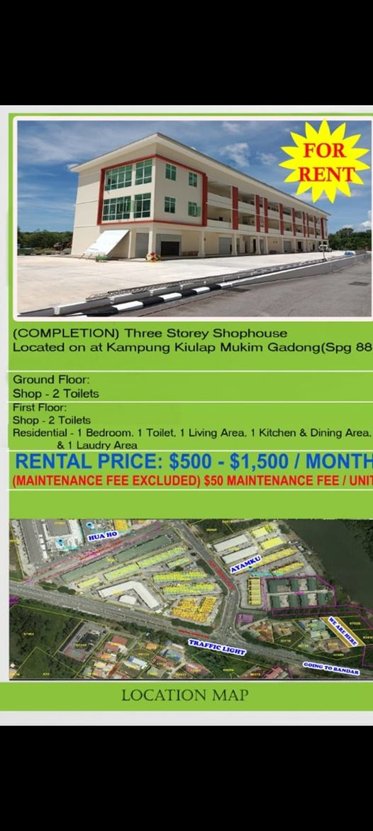 Shop and shop house for rent