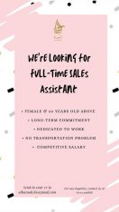 We are looking for 2 Sales Assistant